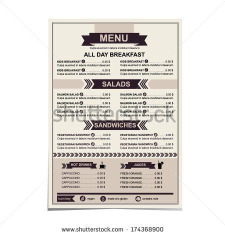 Menu Design Breakfast Restaurant Cafe Graphic Stock Vector ...