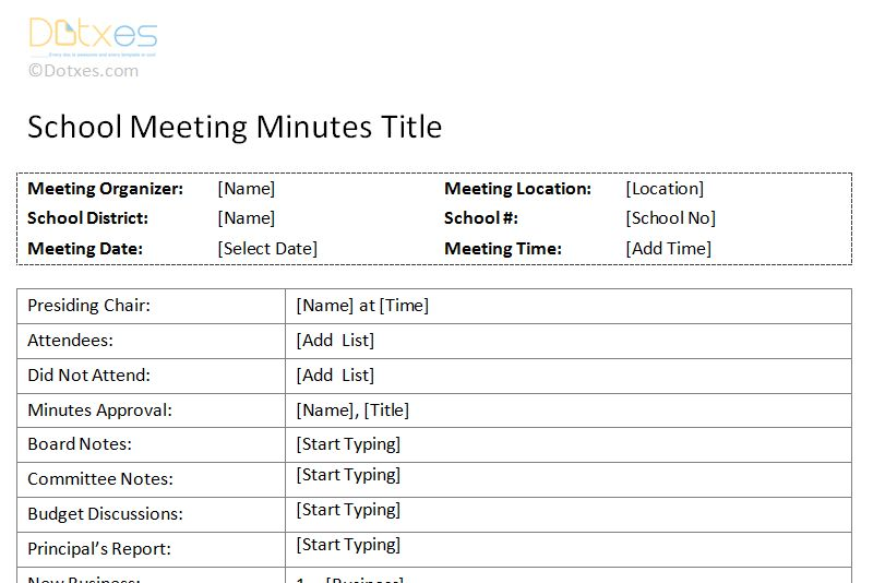 School Meeting Minutes Template - Dotxes