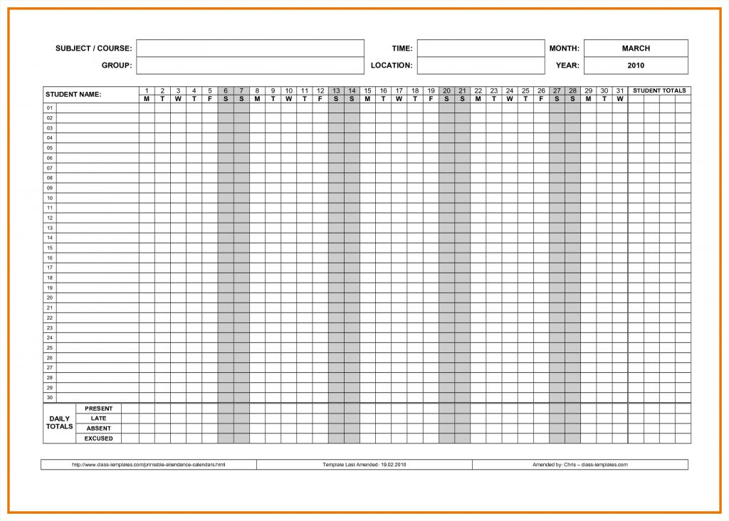 Attendance Book Template Sample Contingency Plans Resume Download ...