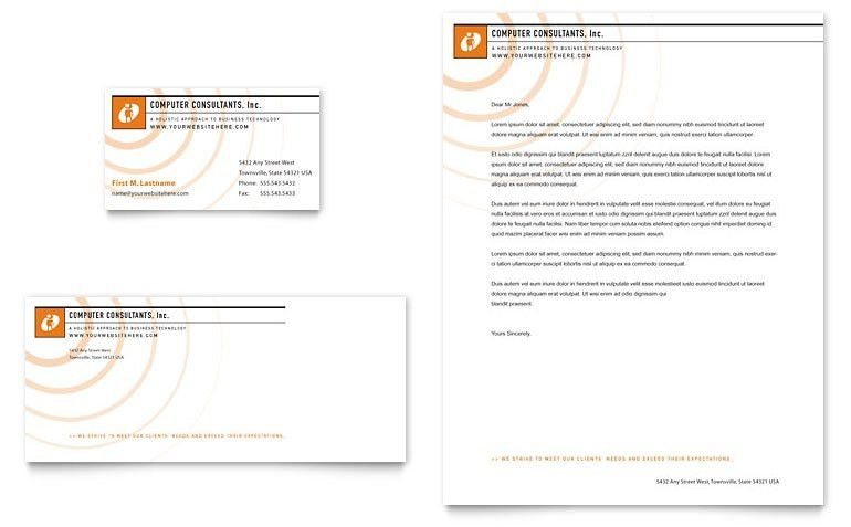 Computer Consulting Company Business Card & Letterhead Template ...