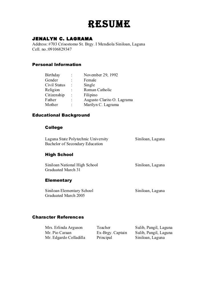 Resume Examples. 10 best good accurate curriculum vitae example ...