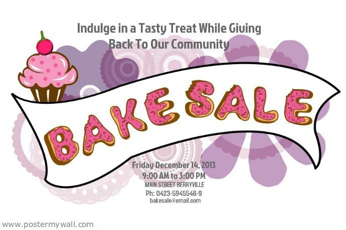 Bake Sale Flyer Template. Pink And Turquoise Illustrated Bake Sale ...