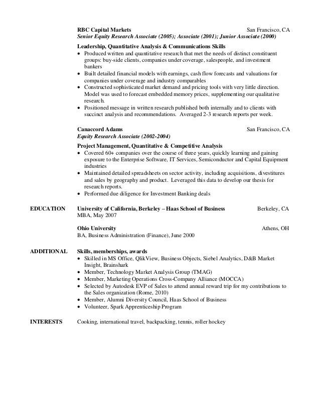 Professional Equity Research Associate Resume | RecentResumes.com