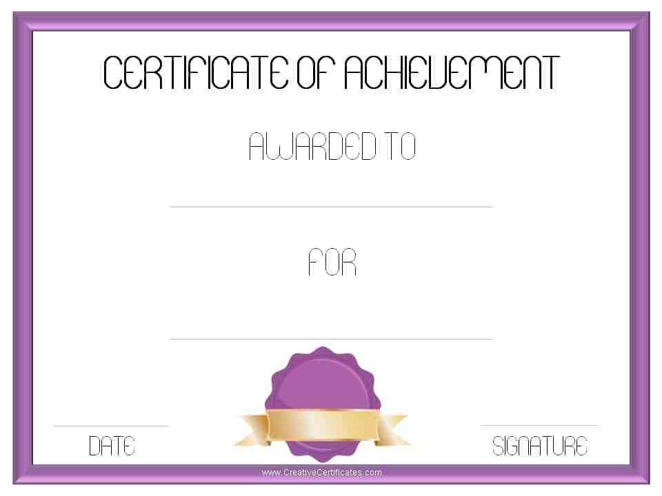 certificate of achievement template free