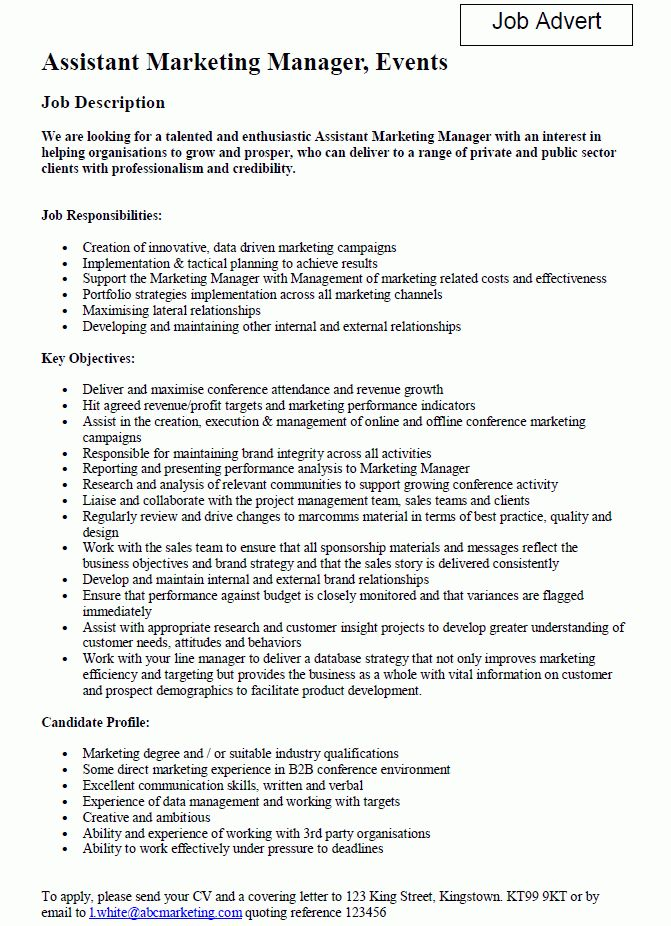 Marketing Assistant Job Description Samples - SampleBusinessResume ...