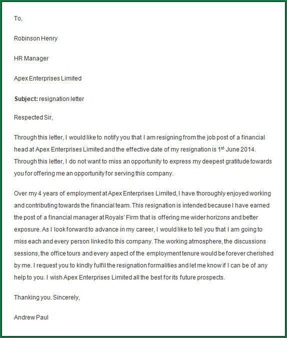 Notice Period Resignation Letter. Sample Notice Of Staff ...