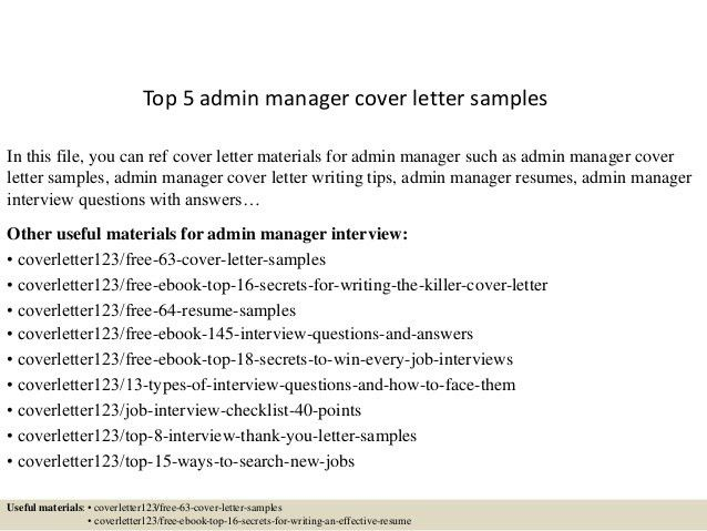 Sample Administrative Manager Cover Letter Office Manager Cv