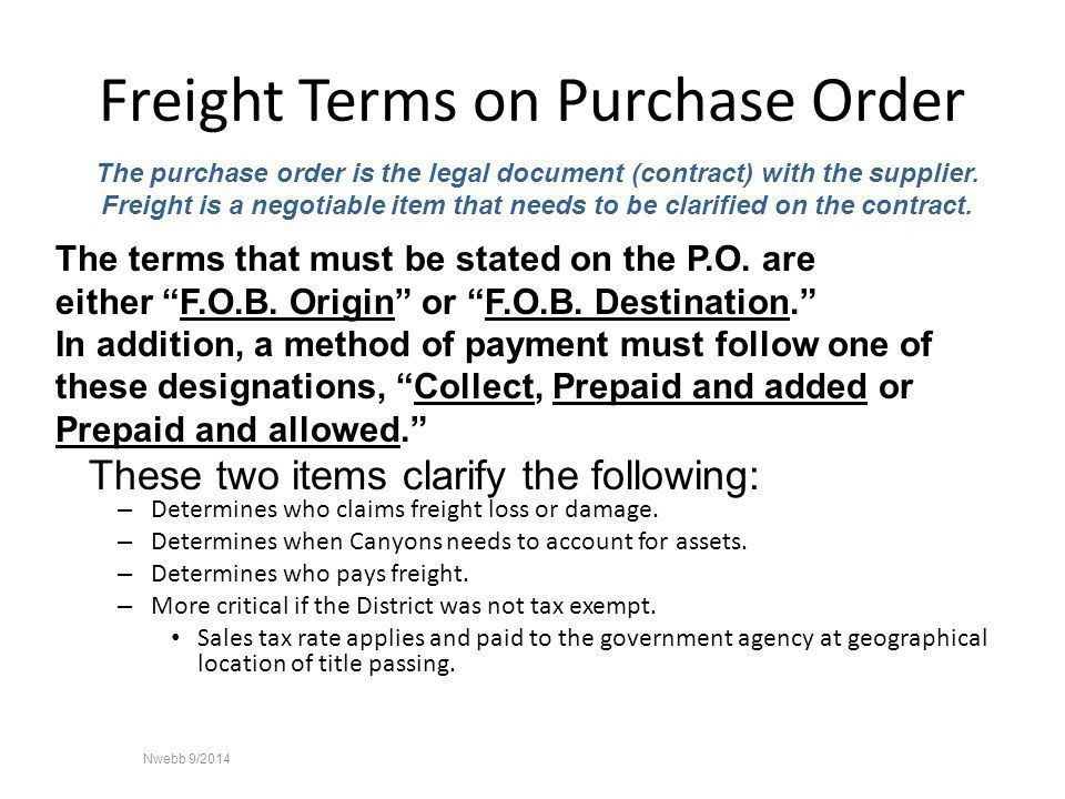 Canyons School District Freight Terms Identified. - ppt download