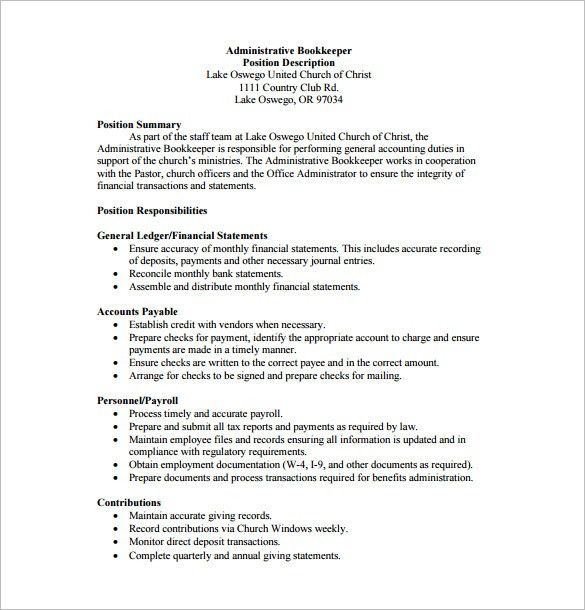 Book Keeper Job Description Template - 8+ Free Word, PDF Format ...