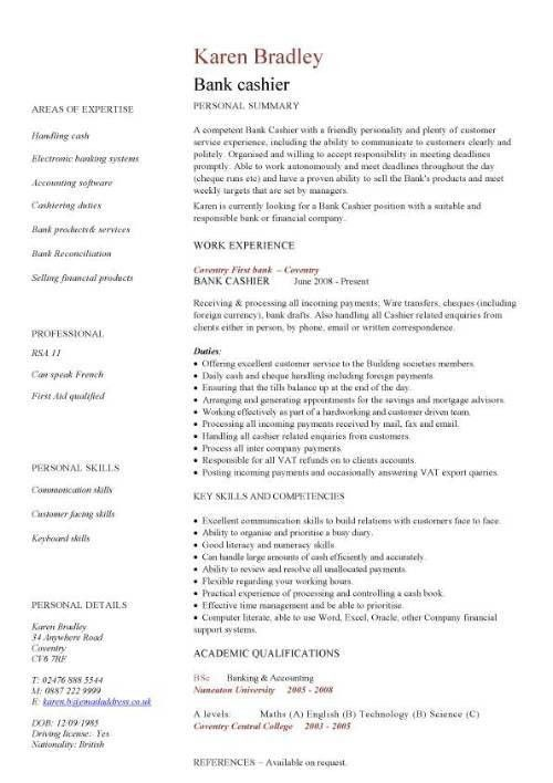Bank cashier CV sample, Excellent face-to-face communication ...