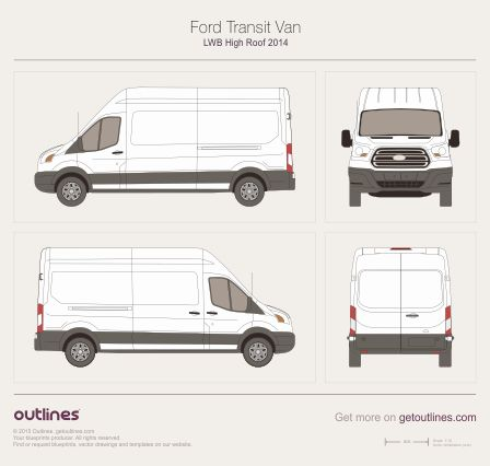 Ford Transit blueprints and drawings (for wrapping and 3d) - Ford ...