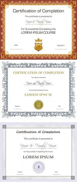 Three certificate design vector Free vector in Encapsulated ...