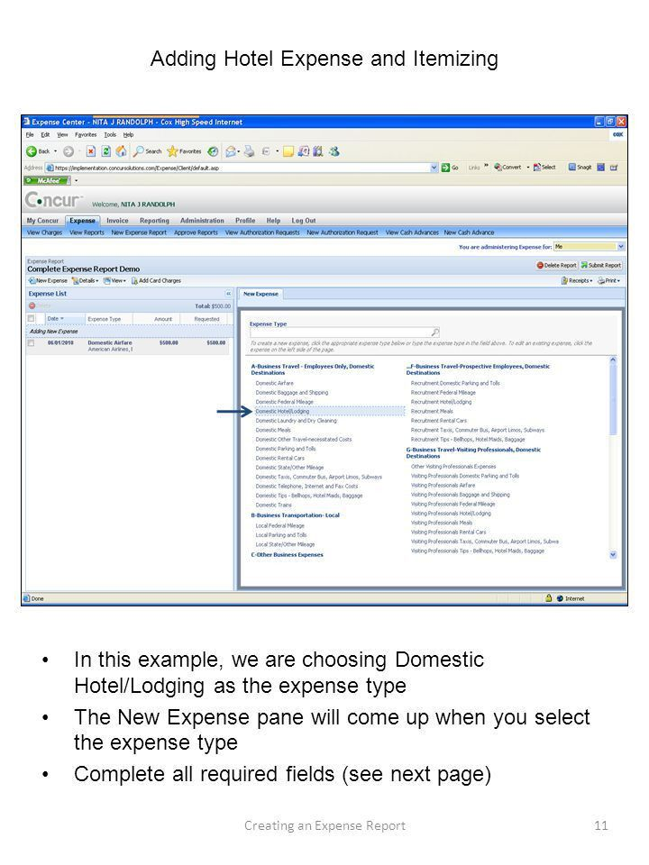 Creating a New Expense Report from My Concur Homepage - ppt download