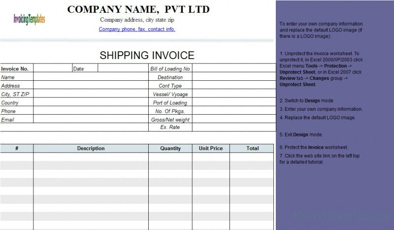 Sample Shipping Invoice | rabitah.net