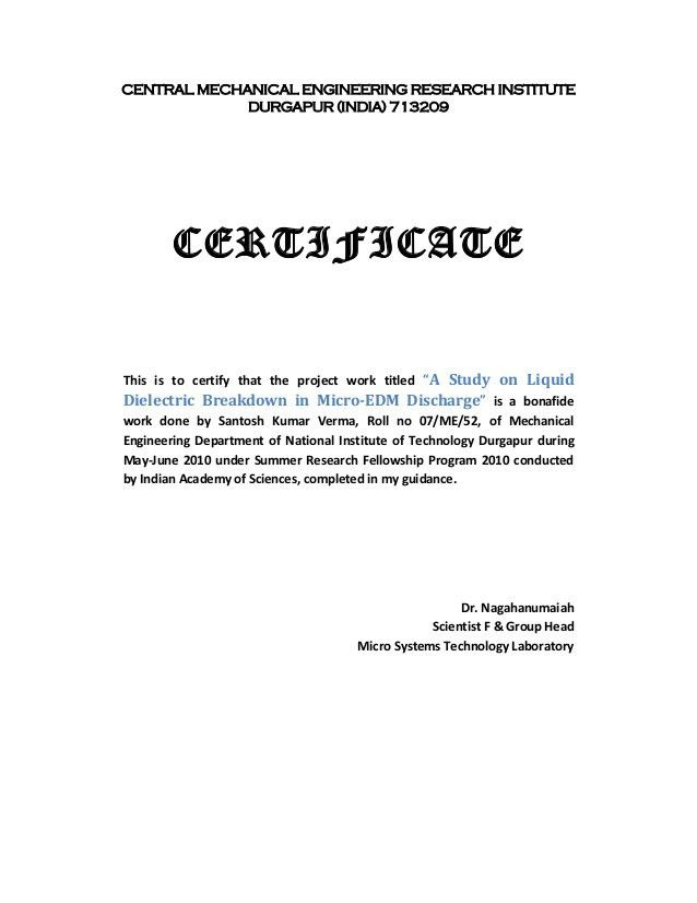 Work done certificate sample work completion certificate a study on liquid dielectric breakdown in micro edm discharge yadclub Images