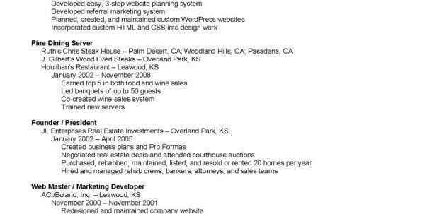 Fine Dining Server Resume Objective Fine Dining Server Resume ...