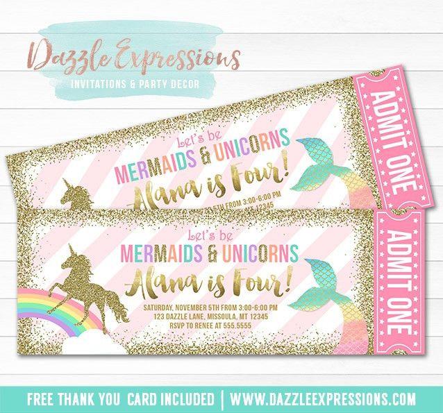 Printable Mermaid and Unicorn Ticket Invitations - Magical Rainbow ...
