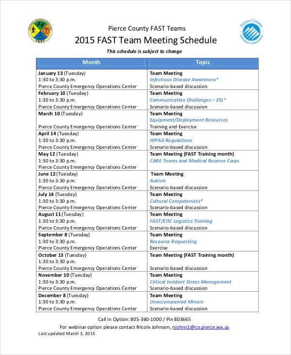 9+ Team Schedule Templates - Free Sample, Example format Download ...