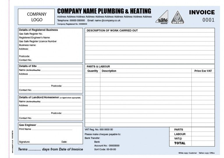 Plumbers Invoice Template Uk | Design Invoice Template