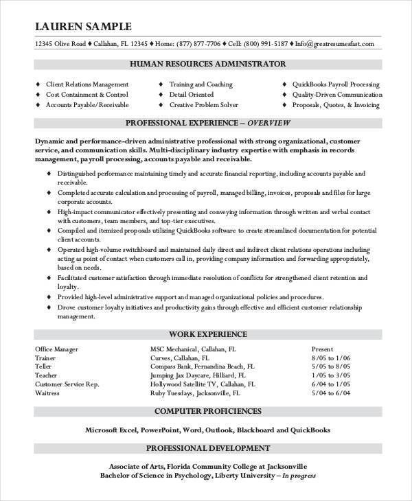 10+ HR Resumes - Free Samples, Examples Format Download | Free ...