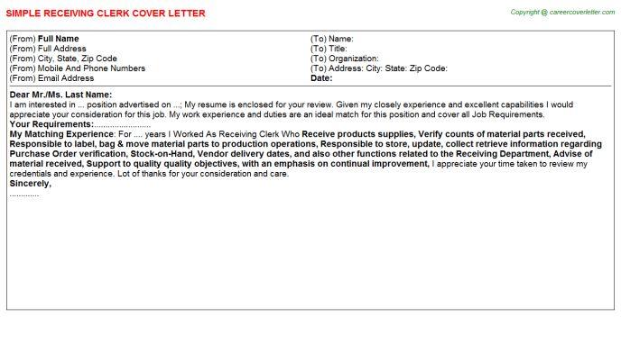 Operations Clerk Cover Letter