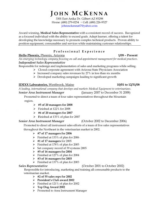 resume format for medical representative medical sales ...