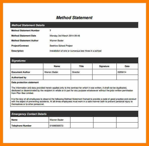 Method Statement Template. Risk Assessment & Method Statement For ...