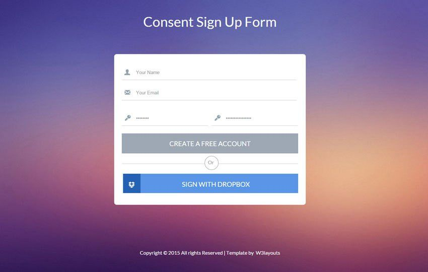 Consent Flat Signup Form Widget Template by w3layouts