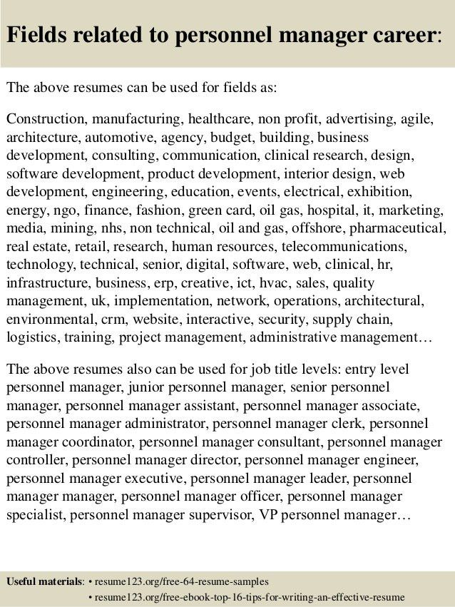 Top 8 personnel manager resume samples