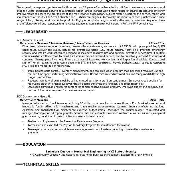 maintenance manager resume maintenance manager resume example job