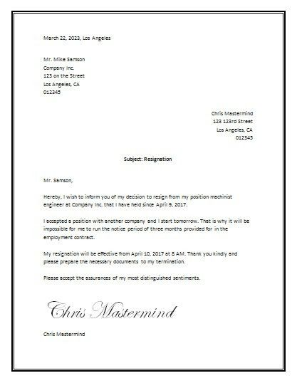 resign letter formats 18 photos of template of resignation letter ...