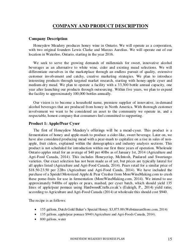 company description example - Template