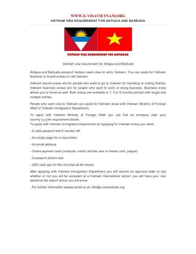 Vietnam visa requirement for antigua and barbuda