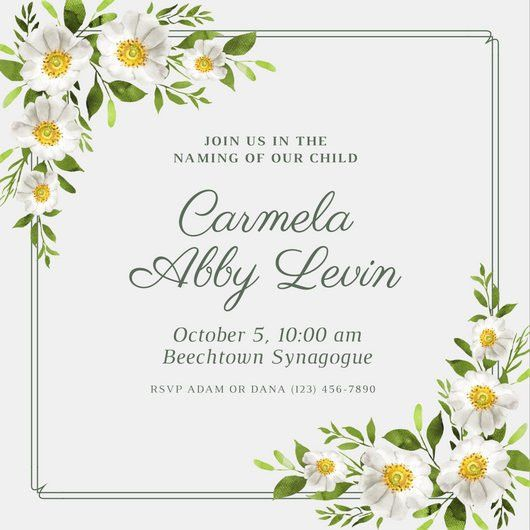 White Floral Border Baby Naming Ceremony Invitation - Templates by ...