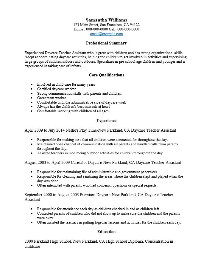 Free Day Care Teacher Resume Template | Sample | MS Word