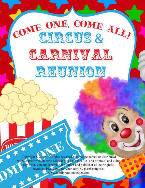Items similar to Circus or Carnival Themed Family Reunion or Party ...