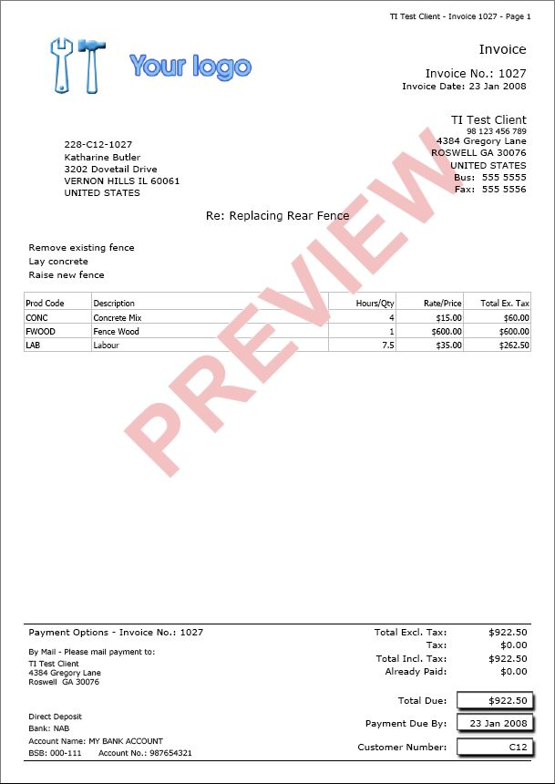 Simple Invoice Template Australia | invoice sample template