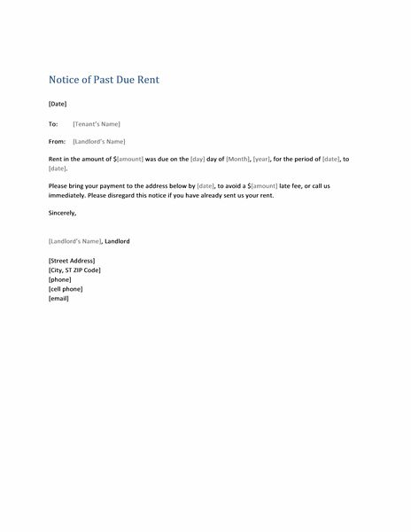Notice of past due rent (form letter) - Office Templates