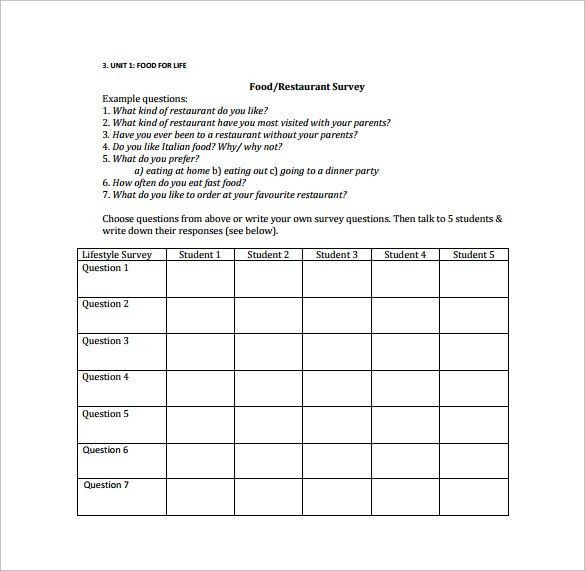 Sample Restaurant Survey Template - 4+ Free Documents in Word, PDF