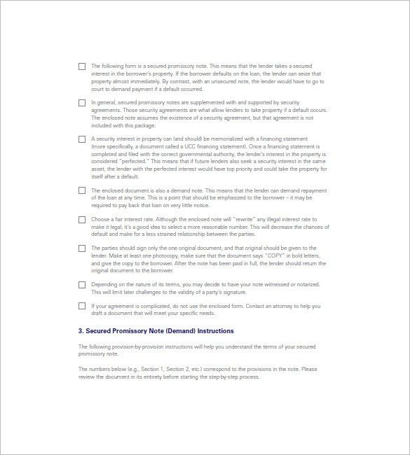 8+ Secured Promissory Note – Free Sample, Example, Format Download ...