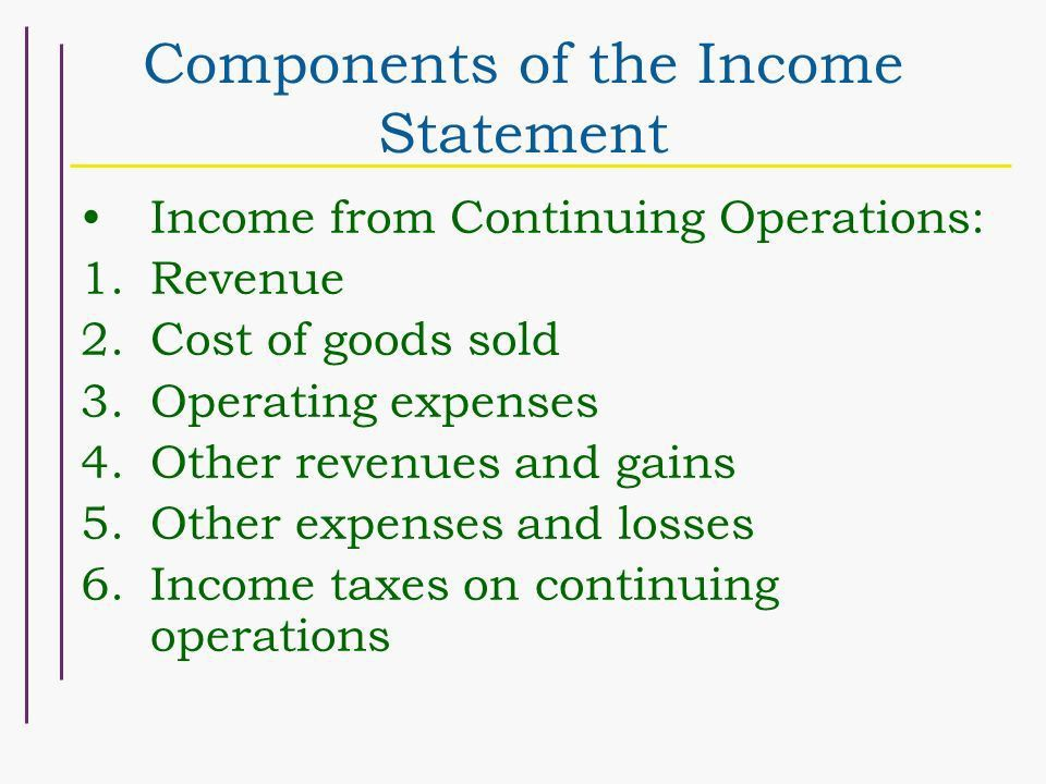 Chapter 4 Schedule 9/26 Income Measurement and Income Statement ...