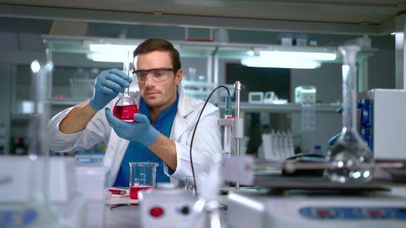 Chemist Studying Liquid in Glass Flask at Modern Lab. Laboratory ...