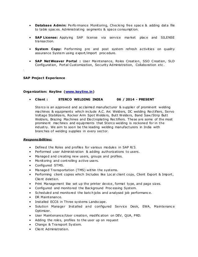 Sap Basis Administration Sample Resume] Sap Basis ...