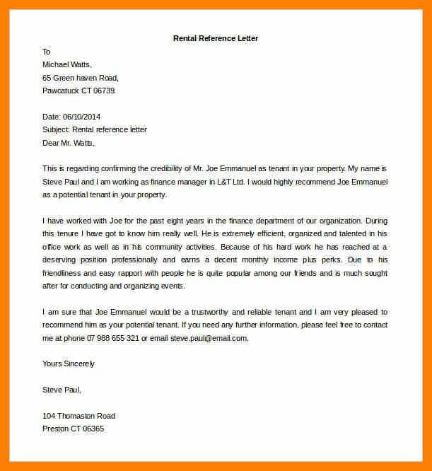 Rental Reference Letter. Basic Landlord Reference Letter 14+ ...