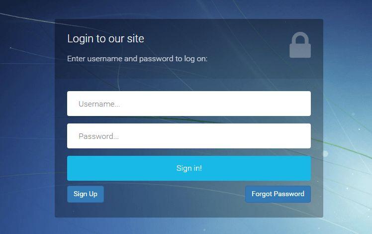 Download Bootstrap Login Registration Forgot Password Template