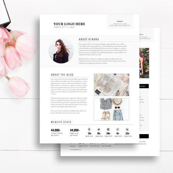 Media Kit Template 2 Page Blogger Media Kit Blog Media Press
