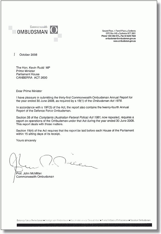 Transmittal letter | Commonwealth Ombudsman Annual Report 2007-08 ...