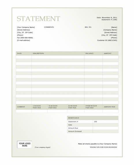 Free Billing Invoice Template | Free green billing statement ...