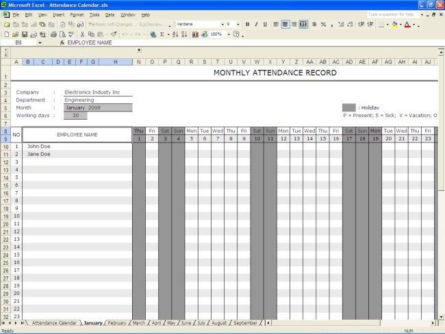 Excellent Monthly Attendance Sheet Record Template for Employee ...