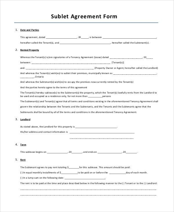 Sample Lease Agreement Form - 10+ Examples in PDF, Word